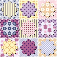 patchwork background with scrapbook flowers