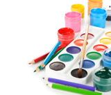 Colorful paints and pencils