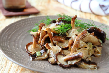 fried shiitake mushrooms on a plate