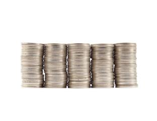 Thai coins baht on white background