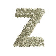 Buchstabe Z gebildet aus Dollar Banknoten