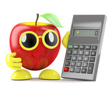 3d Apple does some sums on a calculator