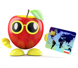3d Apple goes shopping with credit card