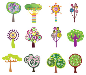 Decorative trees icons