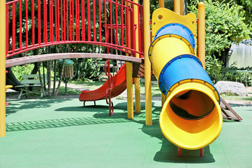 Slide tunnel for kids in outdoor playground