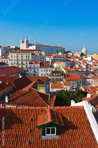 Alfama District in Lisbon with Monastery of Sao Vicente de Fora