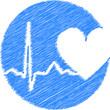 Medizin Retro Logo Herz EKG