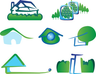 Set of 7 building real estate icons and design elements