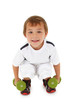 Adorable Caucasian preschool boy with dumbbells over white. With