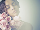 Charming lady with roses - 54407694