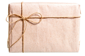 parcel wrapped in brown paper and tied with twine