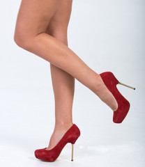 Pretty in red suede heels.