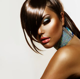 Fashion Beauty Girl. Stylish Haircut and Makeup