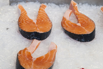 Fresh salmon , fish market