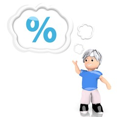 percent sign  thought by a 3d character