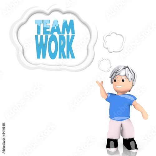 Teamwork sign  thought by a 3d character