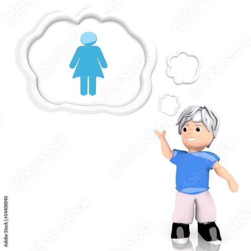 3d render of a isolated woman symbol  thought by a 3d character