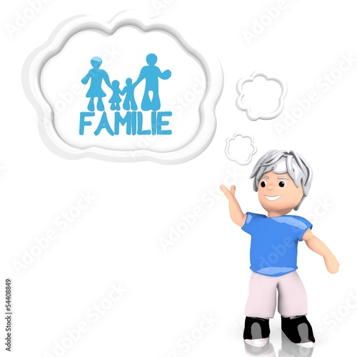 family  in german symbol  thought by a 3d character