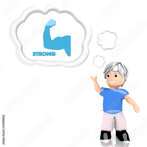 3d render of a creative strong icon  thought by a 3d character