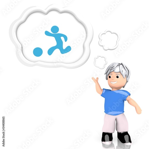 playing boy symbol  thought by a 3d character