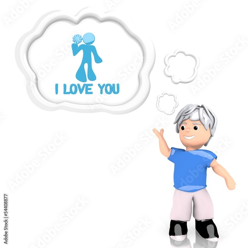 I love you symbol  thought by a 3d character