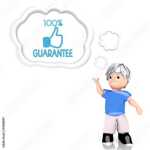 3d render of a smart guarantee sign  thought by a 3d character