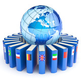Books with the flags of the countries of the Earth. E-learning.