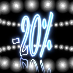 3d render of a shiny discount icon  with shining effect lights