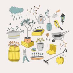 Doodle vector set. Cute Garden