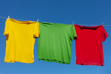 Shirts on clothesline.