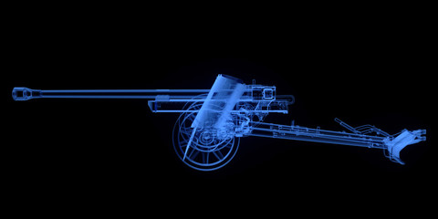 X-ray of artillery cannon