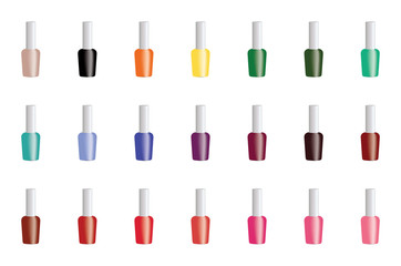Set of color nail polish isolated on white. Vector EPS10.