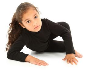 Serious Hispanic Preschooler Crawling on White Floor. Clipping p