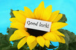Good luck note on sunflower