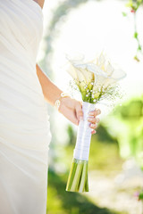 adorable couple in sunlight on their wedding day (sort focus)