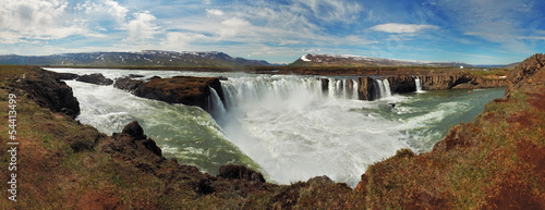 Panoramic view - Godafoss waterfalls in Iceland