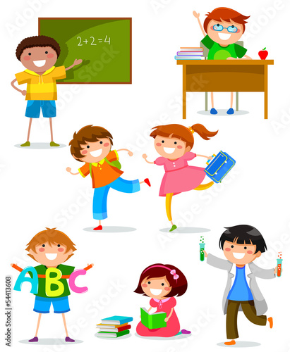set of kids at school