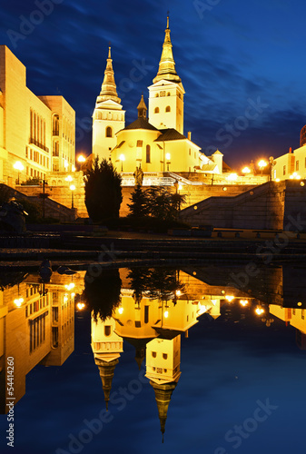 Zilina - Trinity Cathedral, Slovakia at night