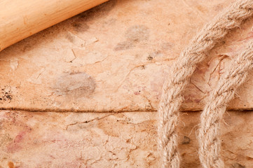 rope and bamboo on the background of old paper