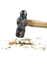 Hammer Destroying Cigarette