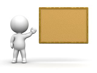 3D Man Presenting Cork Board