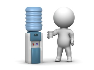 3D Man at Watercooler - Break - Drink Water