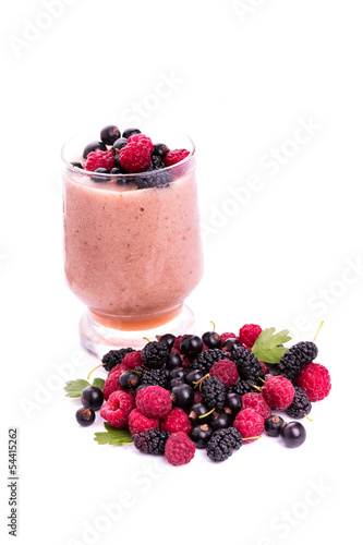 Fresh berries smoothie isolated on white