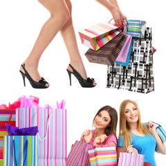 Girl friends with shopping collage