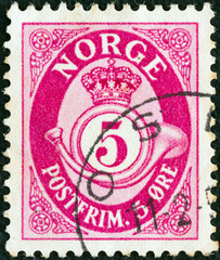 Crown, post horn and value (Norway 1937)