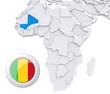 Mali on Africa map