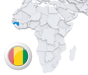 Guinea on Africa map