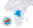 Democratic republic of Congo on Africa map