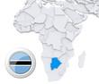 Botswana on Africa map