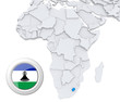 Lesotho on Africa map